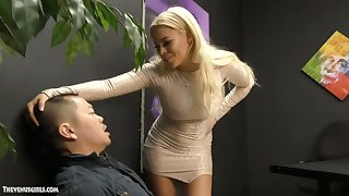 Jaw dropping Cuban mistress Luna Star is jerking off and sucking small Asian dick