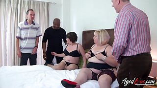 Fat whore Trisha has invited fat old bitch to work on several cocks