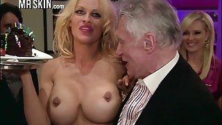 Appetizing honcho blonde MILF Pamela Anderson flashes her nice hard nipples