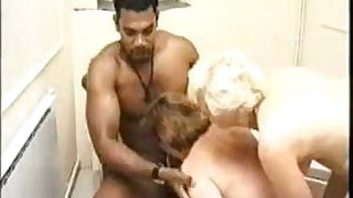 Stepmother and stepdaughter suck BBC in bath