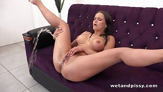 Horny alone brunette Barbara Bieber flashes her Czech pussy during pissing solo