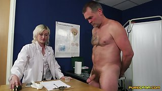 Demented lovemaking with the slutty feminine doc who wants to keep her uniform on