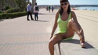 Naughty mom by the sea in see thru Yellow dress auspicious shaved cunt