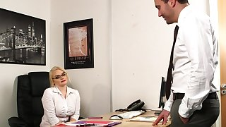 Aroused MILF strips at burnish apply office for a skit of naughty sex