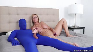 Vitalized grown-up rubs her clit while shaking man's locate in a kinky play