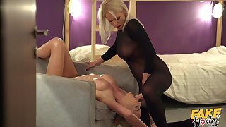 Passionate lesbian carnal knowledge with a strapon - Kathy Anderson & Isabella Deltore