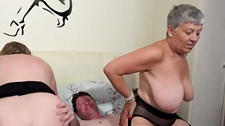 AgedLovE Two Busty British Matures Turtle-dove One Dick