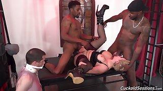 Mistress Ryan Keely fully humiliates her cuckold with black bullocks