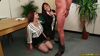 Doyenne man gets his dick pleasured by Angelique Luka & Lucia Be in love with