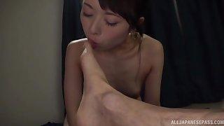 Cute Japanese chick Sakurai Moe knows how to pleasure a dude