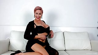 Hot milf with huge fake tits Ryan Keely is playing with big dildo fellow