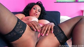 Closeup amateur video of chubby Danica Collins pleasuring say no to cunt