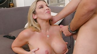 Hot ass mature Kayla Paige moans during wild fucking on the love-seat