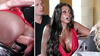 Bartender banged buzzed women arse fucking down 3some