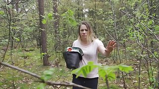 Open-air dick sucking and fucking in the forest with Leonie